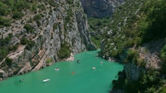 Tourism River Kayaks Boats Summer Holidays Gorges Du Verdon France Stock Footage