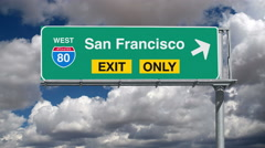 San Francisco Interstate 80 Exit Sign with Time Lapse Clouds Stock Footage