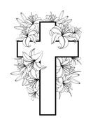 Cross with white lilies Stock Illustration