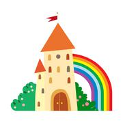 Fairytale castle with fruit trees and a rainbow. Stock Illustration