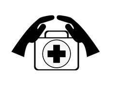 Sheltering hands and first aid kit icon Stock Illustration