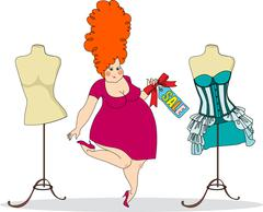 Pretty plump woman in a clothing store Stock Illustration