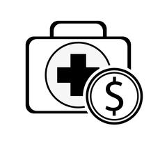 First aid kit and coin icon Stock Illustration