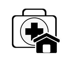 First aid kit and house icon Stock Illustration