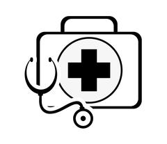 First aid kit and stethoscope icon Stock Illustration