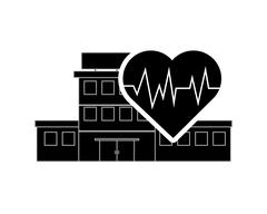 Hospital and heart cardiogram icon Stock Illustration
