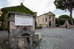 Castle of Giulio II in Ostia Antica Rome and Church Stock Photos
