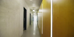 Interior view of hallway in modern college building. No people. Stock Footage