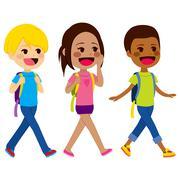 Children Walking School Stock Illustration
