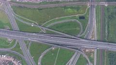 Aerial view on modern road junction, 4k Stock Footage