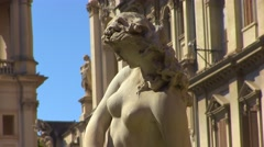 Zoom out from the Sant'Agnese Church, Piazza Navona - Rome Stock Footage