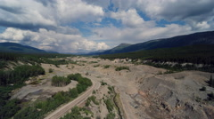 Environmental Damage to Historical Gold Mining River Aerial Stock Footage