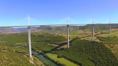 Flying Up Over Millau Viaduct 4K Stock Footage