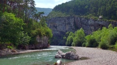 Verdon Gorge Natural Landscape River Nature Near Carajuan France Stock Footage