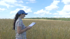 Farmer girl in a plaid shirt controlled his field wheat and writing notes Stock Footage