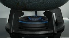 Close-up Gas fire from a kitchen gas stove. Stock Footage