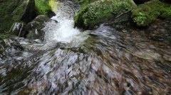 Water stream flowing among stones Stock Footage
