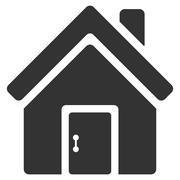 Closed House Door Flat Vector Icon Stock Illustration