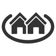Houses Area Flat Vector Icon Stock Illustration