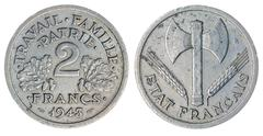 2 francs 1943 coin isolated on white background, France Stock Photos