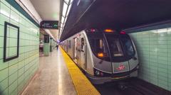 Subway Station Tunnel Track TTC Train Car Platform Timelapse 5k Stock Footage