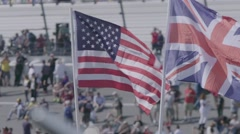 UK and USA Flags Flutternig in the Wind Stock Footage