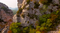 Panning Over a Cliff Face in a Gorge 4K Stock Footage