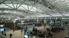Timelapse of airport, seen people waiting for the flight Stock Footage