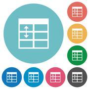 Flat Spreadsheet adjust table row height icons Stock Illustration