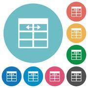 Flat Spreadsheet adjust table column width icons Stock Illustration