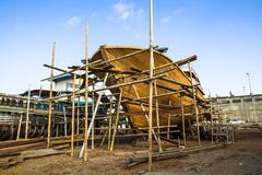 Wooden construction of yacht boat, craft shipyard Stock Photos
