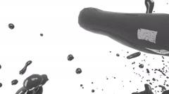 Big splashes. grey liquid. Colored paint Stock Footage