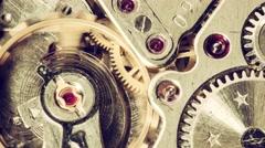 Moving metal gears inside working watch mechanism  Stock Footage