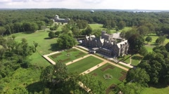 Aerial shot of Sands Point Preserve in NY, fly over to pan shot Stock Footage