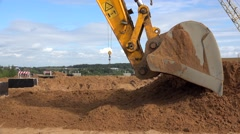 Work Excavator Bucket at a construction site. Stock Footage