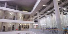 Interior view of modern college building Stock Footage