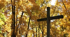 Golden Autumn Leaves with Wooden Cross, Light Breeze, static shot Stock Footage