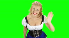 Woman in bavarian national costume shows the thumb. Green screen Stock Footage