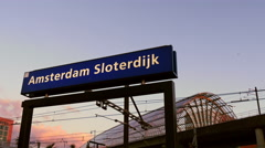 4k Amsterdam Sloterdijk Sign at dusk clip. Stock Footage