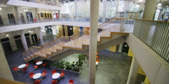 Interior view of the library in a large modern university building. No people Stock Footage