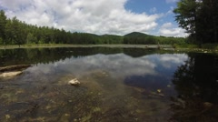 New York Pond with Mountains and Clouds Timelapse,  Tilt Up Movement Stock Footage