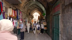 Alley ancient Jerusalem Israel. Stock Footage