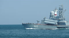 Modern small Russian missile boat goes to sea Stock Footage