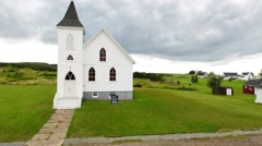Aerial shot of a beautiful rural church Stock Footage
