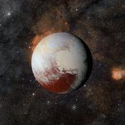 Solar system planet Pluto on nebula background. Stock Illustration