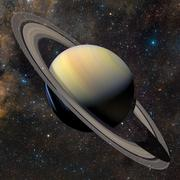 Solar system planet Saturn on nebula background. Stock Illustration