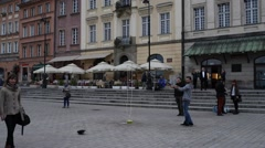 Show bubbles on Castle Square in Warsaw, Poland Stock Footage