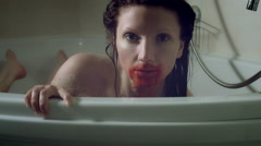 4k Thriller Shot of a Woman in Bath Room Having Blood on her Mouth Stock Footage