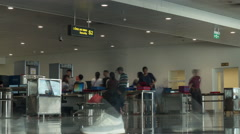Timelapse of people traffic in airport security checkpoint Stock Footage
