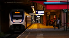 Dutch passenger train almost departed from the train station. Stock Footage